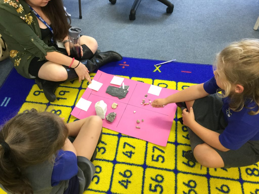 Geology lessons - sorting rocks in science