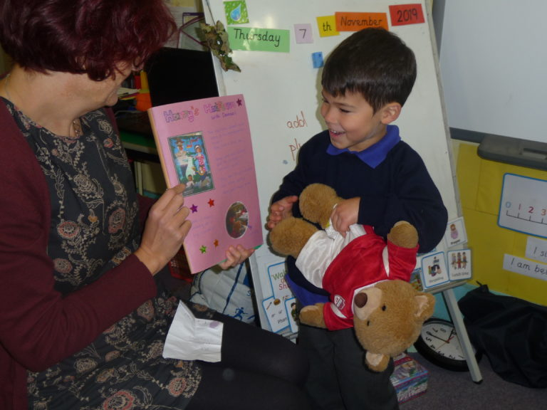 Sharing with the whole class what Harry Bear did when he went to each child's house at the weekend. Who will he choose next...