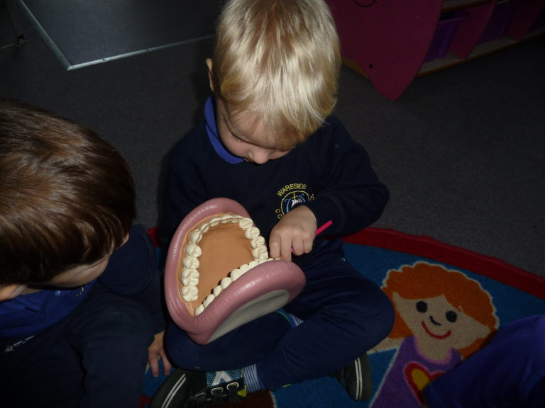 The nurse visiting showed the children how to clean their teeth