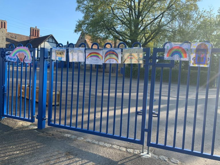 NHS rainbows on our school gates